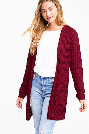 $25 - Cute cheap rust red cotton zip up drawstring waisted hooded pocketed cargo anorak jacket - Burgundy red chunky ribbed knit open front hooded boho sweater cardigan jacket