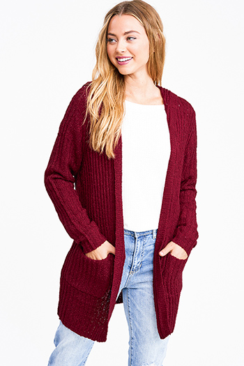 $18 - Cute cheap mocha taupe brown sweater knit fringe trim faux fur lined hooded boho poncho top - Burgundy red chunky ribbed knit open front hooded boho sweater cardigan jacket
