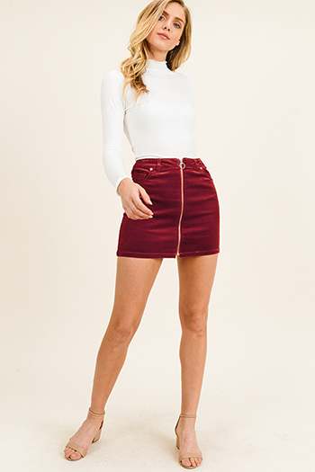 $20 - Cute cheap boho sexy party mini dress - Burgundy red corduroy mid rise zip up boho retro mini skirt