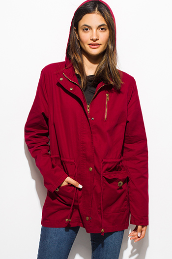 $30 - Cute cheap army olive green cotton utility cargo hoodie trench coat jacket - burgundy red cotton utility cargo hooded pocketed anorak trench coat jacket
