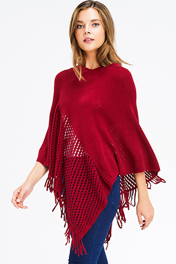 $15 - Cute cheap rust red abstract ethnic print long bell sleeve crochet trim boho blouse top - burgundy red crochet knit asymmetrical fringe trim shawl poncho sweater knit jacket
