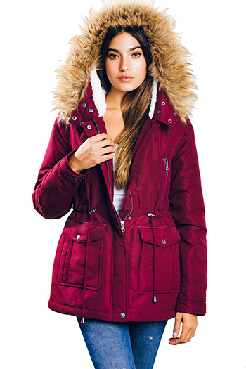 $30 - Cute cheap career wear - burgundy red drawstring waist zip up pocketed hooded quilted puffer anorak trench coat jacket