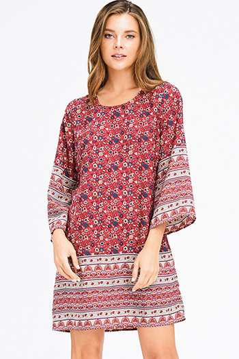 $10 - Cute cheap open back wrap jumpsuit - burgundy red floral ethnic print long bell sleeve cut out back boho shift mini dress