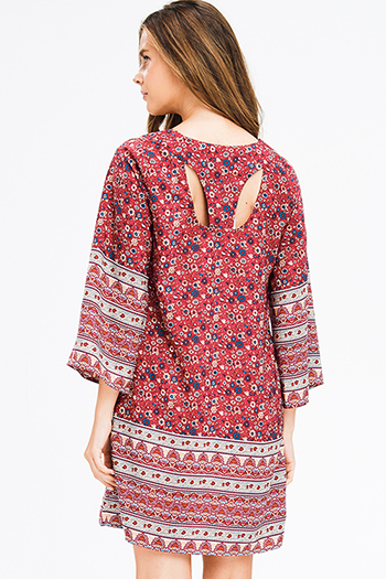 $15 - Cute cheap ribbed boho dress - burgundy red floral ethnic print long bell sleeve cut out back boho shift mini dress