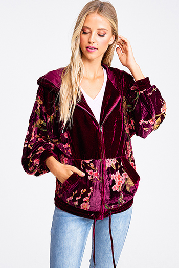 $30 - Cute cheap print chiffon boho top - Burgundy red floral print velvet zip up hooded pocketed boho jacket