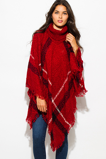$25 - Cute cheap burgundy red high low hem boat neck long sleeve knit poncho tunic top - burgundy red giant checker plaid fuzzy boho knit poncho sweater jacket tunic top