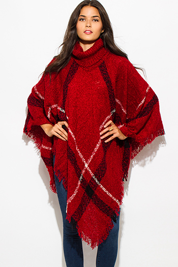 $25 - Cute cheap ruffle boho tunic - burgundy red giant checker plaid fuzzy boho knit poncho sweater jacket tunic top