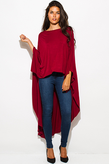 $15 - Cute cheap burgundy red ruched cowl neck button trim knit blouse top - burgundy red high low hem boat neck long sleeve knit poncho tunic top