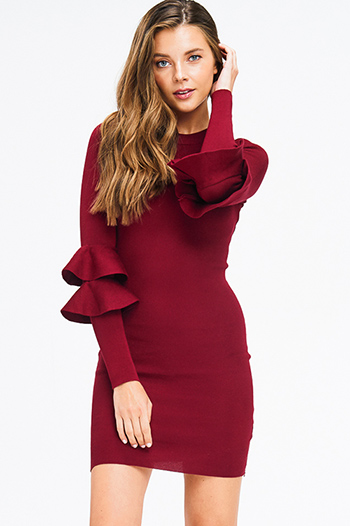 $25 - Cute cheap print sheer evening dress - burgundy red knit long ruffle tiered sleeve bodycon fitted cocktail party sexy club mini dress