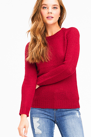 $10 - Cute cheap wine burgundy red plaid print long sleeve frayed hem button up blouse tunic top - Wine burgundy red knit round neck long sleeve sweater top