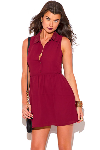 $15 - Cute cheap burgundy dress - burgundy red chiffon cut out backless shirt dress