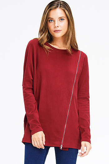 $15 - Cute cheap olive green charcoal gray fuzzy stripe boat neck long sleeve sweater knit top - burgundy red long sleeve asymmetrical zipper detail knit top