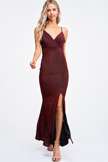 $35 - Cute cheap v neck cocktail dress - Burgundy red metallic sweetheart sleeveless slit fitted mermaid evening maxi dress