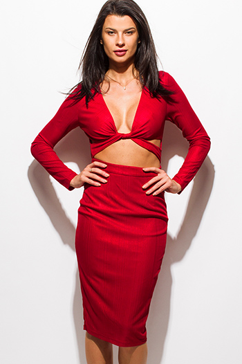 $15 - Cute cheap red caged fitted jumpsuit - burgundy red metallic deep v neck long sleeve cut out bodycon fitted pencil sexy club midi dress