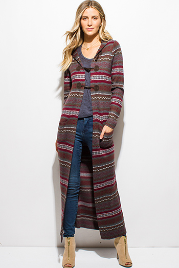 $20 - Cute cheap charcoal gray two toned open front faux fur trim hooded pocketed sweater knit cardigan top - burgundy red multicolor ethnic print hooded pocketed button up duster cardigan jacket