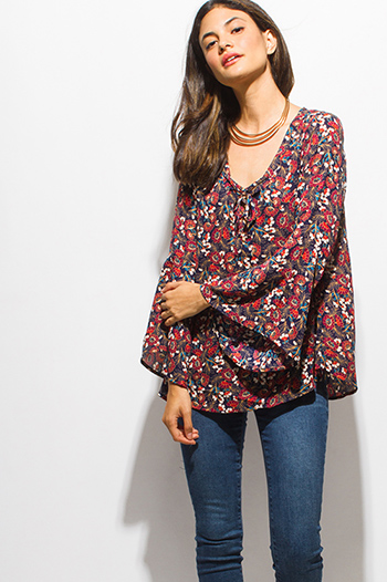 $15 - Cute cheap wine red textured fabric deep v neck tiered ruffle high low hem blouse jacket top - burgundy red multicolor floral print laceup bell sleeve boho blouse top
