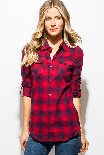 $15 - Cute cheap navy blue plaid cotton gauze quarter sleeve button up blouse top - burgundy red navy blue checker plaid flannel long sleeve button up blouse top