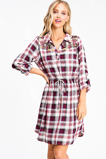$15 - Cute cheap ruched fitted mini dress - Burgundy red plaid floral embroidered long sleeve tie waist boho peasant shirt dress