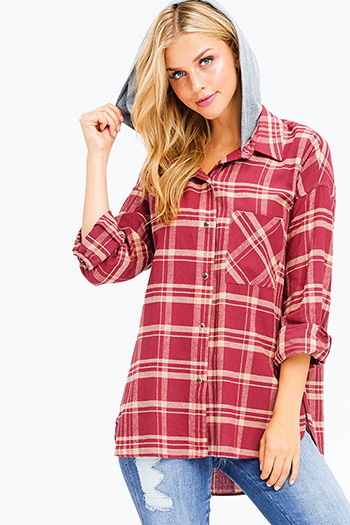 $20 - Cute cheap red mesh sexy club catsuit - burgundy red plaid long sleeve contrasted hooded button up blouse top