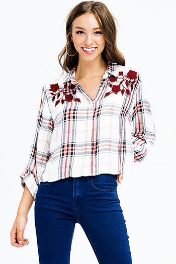 $15 - Cute cheap print fitted top - burgundy red plaid print floral embroidered long sleeve crop blouse top