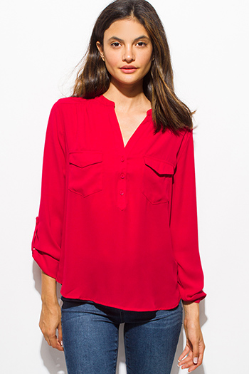$15 - Cute cheap navy blue and red nautical stripe semi sheer chiffon tunic blouse top - burgundy red quarter sleeve collarless button up blouse top
