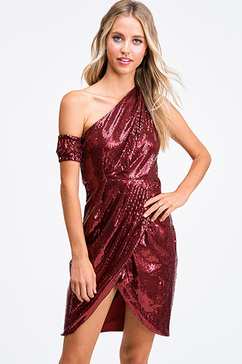 $15 - Cute cheap ribbed slit sexy club dress - Burgundy red sequin one shoulder faux wrap evening cocktail party tulip mini dress