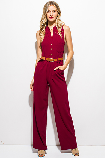 $20 - Cute cheap burgundy red sleeveless button up belted pocketed cargo evening wide leg jumpsuit