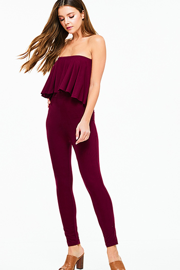 $25 - Cute cheap black stripe strapless sweetheart neck cut out wide leg resort evening jumpsuit - Burgundy red strapless ruffle tiered bodycon fitted sexy club evening catsuit jumpsuit