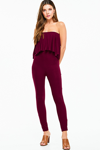 $15 - Cute cheap dark blue washed denim mid rise distressed ripped knee fitted skinny jeans - Burgundy red strapless ruffle tiered bodycon fitted sexy club evening catsuit jumpsuit