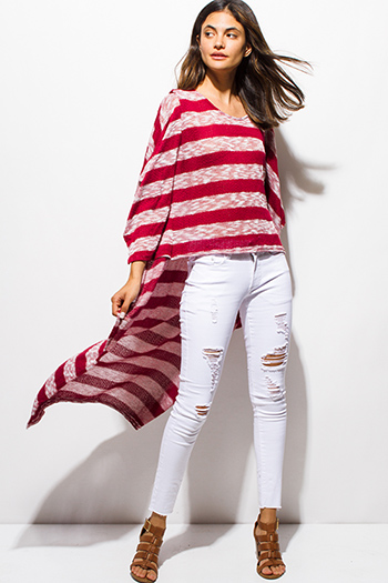 $15 - Cute cheap wine red textured fabric deep v neck tiered ruffle high low hem blouse jacket top - burgundy red striped sweater knit high low hem boat neck dolman sleeve poncho tunic top