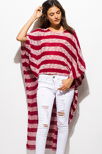 $15 - Cute cheap royal blue button front high low tank top 83108.html - burgundy red striped sweater knit high low hem boat neck dolman sleeve poncho tunic top