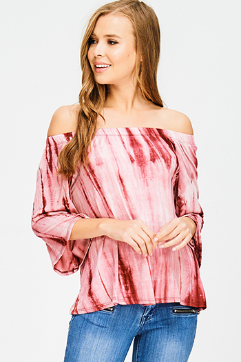 $12 - Cute cheap ivory white chiffon contrast laceup half dolman sleeve high low hem boho resort tunic blouse top - burgundy red tie dye off shoulder quarter bell sleeve boho top