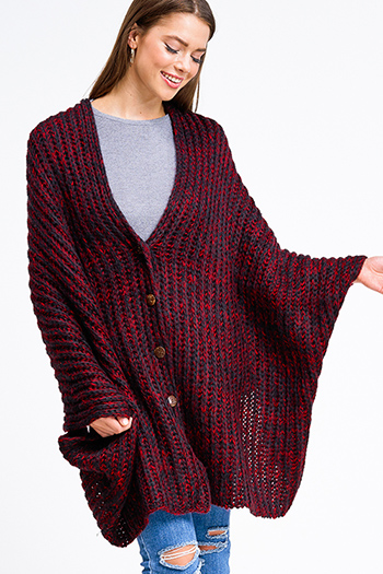 $30 - Cute cheap boho - Burgundy red two toned crochet knit boho button up sweater shawl poncho top