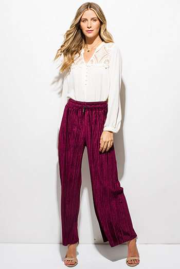$15 - Cute cheap distressed mocha faux leather stripe banded waisted pleated sexy club mini skirt 88022 - burgundy red velvet pleated drawstring high waisted wide leg boho culotte pants