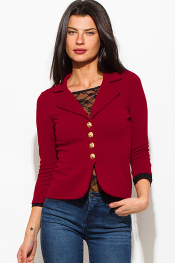 $20 - Cute cheap navy blue plaid cotton gauze quarter sleeve button up blouse top - burgundy wine red golden button quarter sleeve fitted blazer jacket top