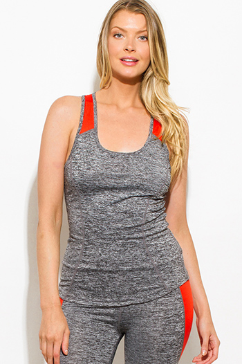$10 - Cute cheap charcoal gray and neon pink high neck crop top - burnt orange charcoal gray color block racer back fitted work out fitness tank top