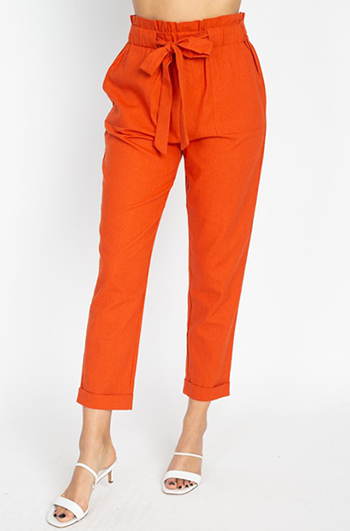 $25 - Cute cheap pocketed boho pants - Burnt orange paperbag high waisted pocketed tie waist tapered harem pants