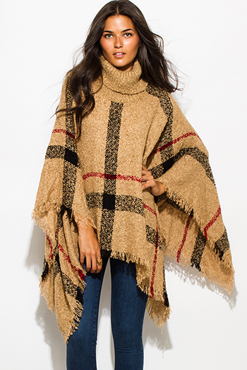 $25 - Cute cheap brown plaid print flannel long sleeve frayed hem button up blouse tunic top - camel beige giant checker plaid fuzzy boho knit poncho sweater jacket tunic top