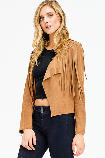 $20 - Cute cheap army olive green zip up banded crop bomber jacket top - camel brown faux suede fringe trim long sleeve draped open front boho jacket top