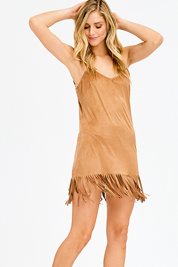$15 - Cute cheap strapless formal mini dress - camel brown faux suede sleeveless fringe hem shift sexy club mini dress