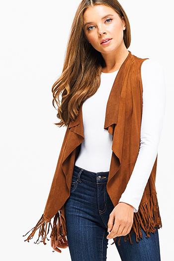 $15 - Cute cheap open back fitted sexy party catsuit - Camel brown faux suede waterfall draped collar open front fringe trim boho vest top