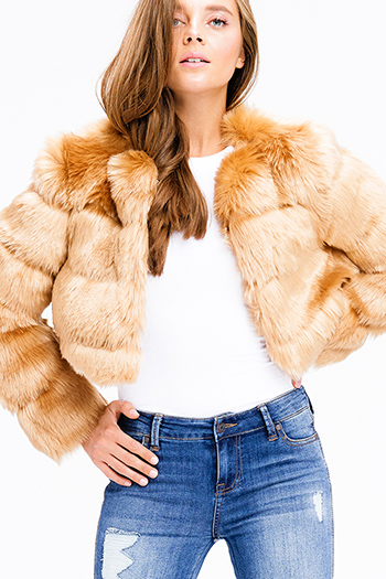 $30 - Cute cheap crochet jacket - camel gold tan faux fur tiered long sleeve collarless open front cropped boho sexy party coat jacket