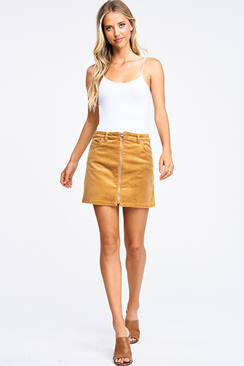 $20 - Cute cheap dark blue washed denim high waisted frayed hem tiered boho jean mini skirt - Camel khaki gold tan corduroy mid rise zip up boho retro mini skirt