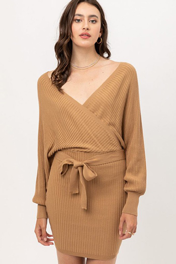 $19.50 - Cute cheap camel ribbed knit long dolman sleeve surplice faux wrap belted sweater mini dress