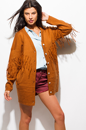 $20 - Cute cheap boho - camel rust brown long sleeve button up fringe trim boho sweater knit cardigan jacket