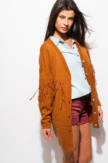 $20 - Cute cheap olive green front pocket long sleeve sweater knit top - camel rust brown long sleeve button up fringe trim boho sweater knit cardigan jacket
