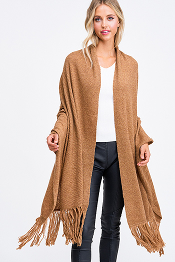 $20 - Cute cheap brown ribbed sweater - Camel tan brown sweater knit fringe hem boho shawl scarf