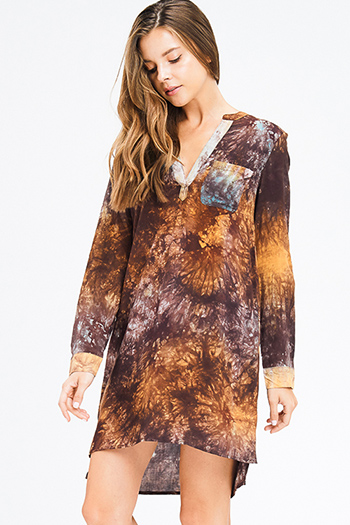 $10 - Cute cheap floral pocketed mini dress - camel tan brown tie dye indian collar v neck long sleeve boho mini dress