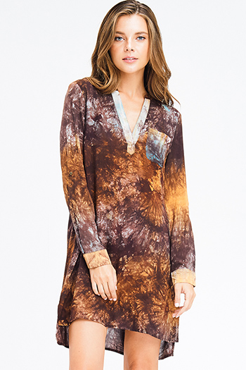 $18 - Cute cheap print sheer evening dress - camel tan brown tie dye indian collar v neck long sleeve boho mini dress