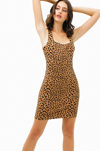 $25 - Cute cheap ribbed slit sexy club dress - Camel tan cheetah animal print sleeveless square neck sheath pencil mini dress